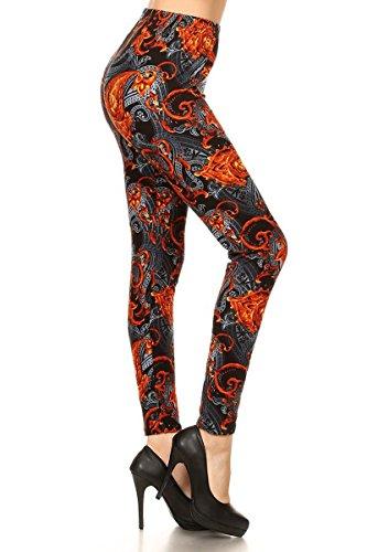 R833-PLUS Mixed Paisley Print Fashion Leggings
