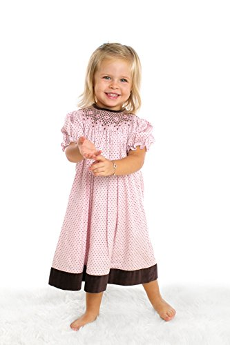 Baby Girl's Hand Smocked Darling Polka-dot Dress - Baby Pink w/ Brown Trim, 6M