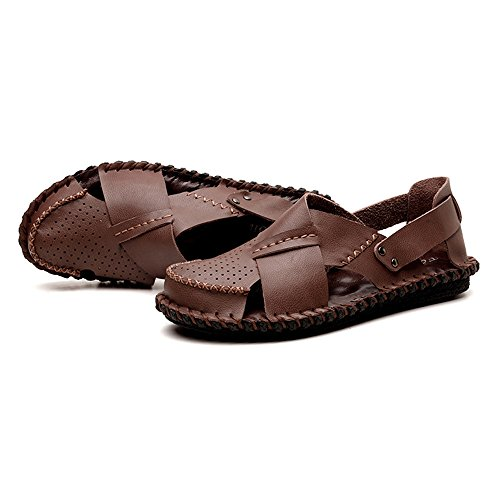 traspiranti Light Size sandali uomo pelle Color traspiranti Brown EU estive brown in 42 Dark ciabattine Sandali regolabili da sandali RnwSx74cA6