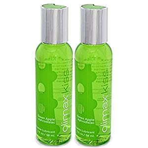 Climax Kiss GREEN APPLE Aphrodisiac Rush Flavored Lubricant Kissable : Size 2 Oz. / 59 Ml.