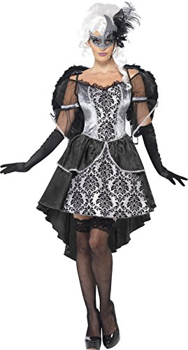 Smiffy's Women's Dark Angel Masquerade Costume, Dress and Wings, Carnival of the Damned, Halloween, Size 6-8, (Dead Angel Halloween Costume)