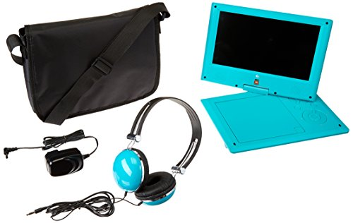 Ematic Portable DVD Player with JBL Audio, 9-inch Swivel Screen, Headphones and Travel Bag, Teal by Ematic