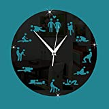 ZRDMN Wall clock Decorative wall clock fun sex clock art bar cafe quartz, black Wall clock