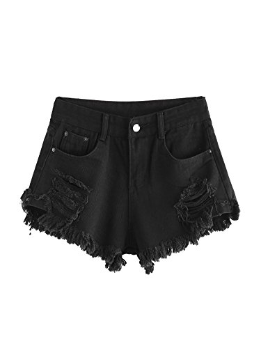 MAKEMECHIC Women's Frayed Raw Hem Ripped Distressed Denim Shorts Black### XL