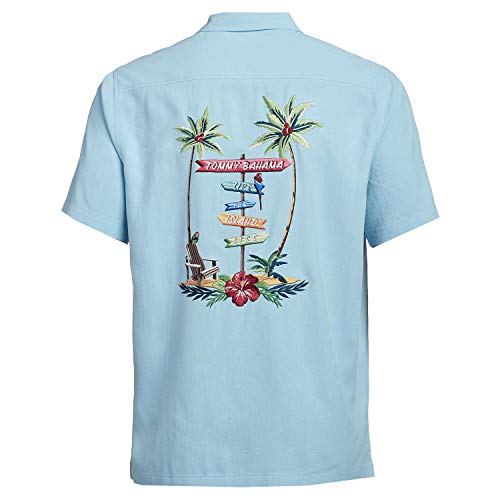 Tommy Bahama Embroidererd Live The Island Life Silk Camp Shirt (Color: Lapis Shell, Size 3XL)