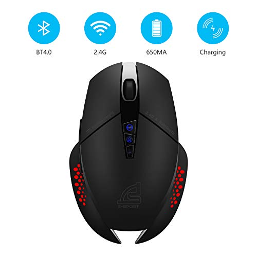 SIGNO Control Two Devices Office Mouse 2.4GHz Wireless and Bluetooth with Wireless Charging, 3 in 1 Design Ergonomic RGB LED Light 8 Buttons 800-3200 DPI Adjustable (BW-600)