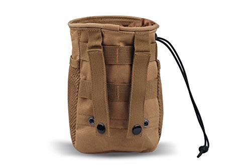 CISNO Military Small Molle Belt Tactical Magazine Dump Drop Reloader Pouch Bag W/Mesh(Coyote Tan)