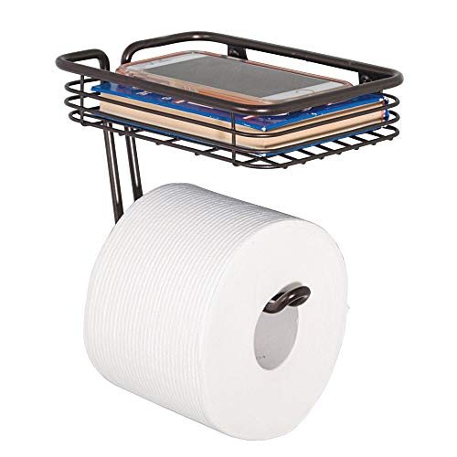 Flush Holder Door Wall Mount (mDesign Toilet Tissue Paper Holder and Multi-Purpose Shelf - Wall Mount Storage Organizer for Bathroom, Holds 1 Mega Rolls - Durable Metal Wire Design - Bronze)