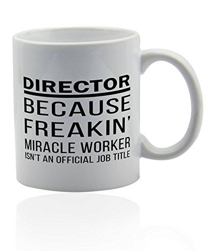 Director mug for coffee or tea 11 oz. Funny gag joke gift cup. Thank you appreciation gifts.