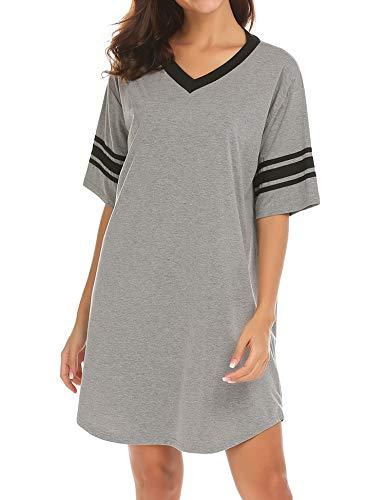 Ekouaer Women's Nightgown Cotton Sleep Shirt V Neck Short Sleeve Loose Comfy Pajama Sleepwear,A_grey,X-Large (Knee Nightgown Length Sleeve Short)