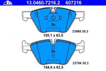 Scheibenbremse 13.0460-7216.2 ATE Bremsbelagsatz