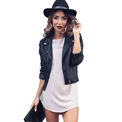 cremallera la negro Negro de de Outwear cuero Las Internet motocicleta la la adelgazan abrigo la de mujeres chaqueta del suave PU RUAYw0q