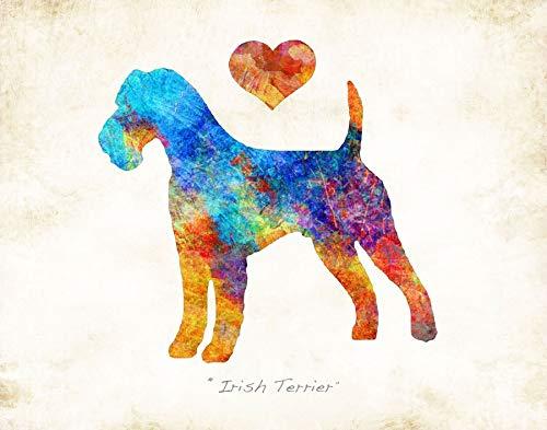 IRISH TERRIER Dog Breed Watercolor Art Print by Dan Morris