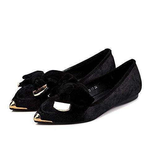 AllhqFashion Damen Rein Mattglasbirne Ohne Absatz Ziehen auf Spitz Zehe Flache Schuhe, Schwarz, 37