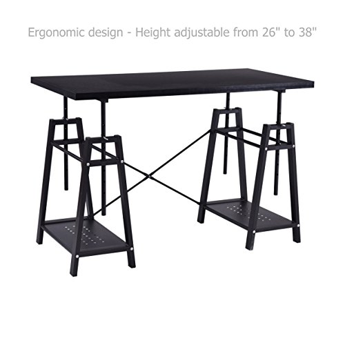Modern Computer Laptop Desk Height Adjustable Space Saving Design Sturdy Powder Coated Steel Frame Workstation Writing Table Home Office Furniture - Frame Png Double