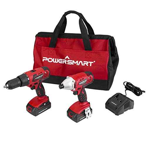 "PowerSmart Combo Kit, 20V MAX Cordless Drill/Driver Combo Kit, Cordless 1/4"" Impact Driver, 45N.m Chuck 1/2-INCH Cordless Drill Driver, 2-Tool Combo Kit, 2 Batteries and Charger Included, PS76300C"