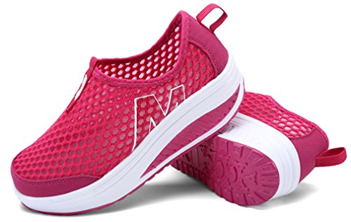 NEWZCERS Women's Summer mesh Slip-on Platform Shoes Fitness Work Out Sneaker Rose Red Np0kh