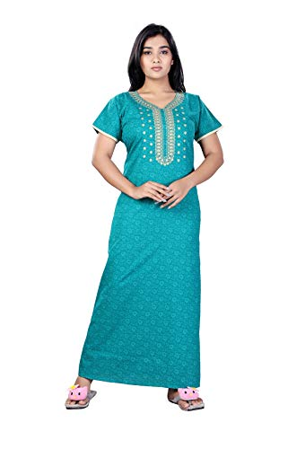 Bailey sells Women's Cotton Embroidered Printed Maxi Nighty Nightgown Free Size (Sky Blue)