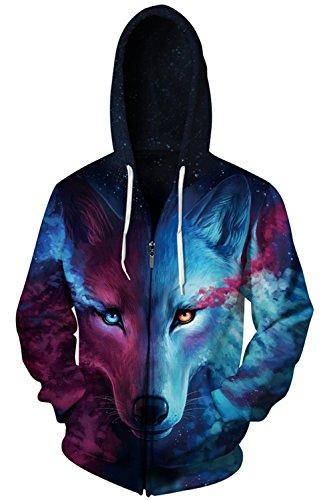 Gludear Unisex Realistic 3D Digital Print Full Zip Hoodie Hooded Sweatshirt,Blue Wolf Print,S/M