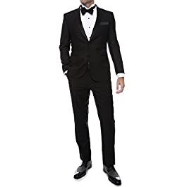 Ferrecci Men's Debonair Black Slim Fit Peak Lapel Collar 2 Piece Tuxedo Suit Set – Tux Blazer Jacket and Pants