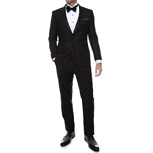 Ferrecci Men's Debonair Black Slim Fit Peak Lapel 2pc Tuxedo - 40S