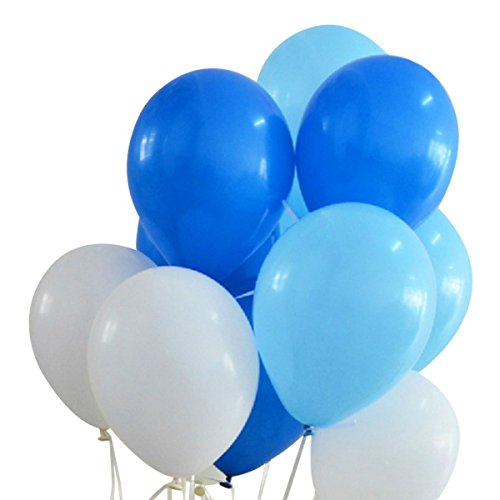 100 Premium Quality Balloons: 12 inches white and blue and light blue latex balloons birthday party decoration and (Blue Latex Balloons)