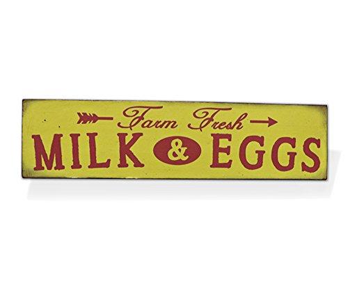 "Barnyard Designs Farm Fresh Milk & Eggs Retro Vintage Tin Bar Sign Country Home Decor 15.75"" x 4"""