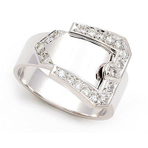 Platinum Gold Pave set Diamond Buckle Ring (G-H/SI, 1/3 ct.), 12