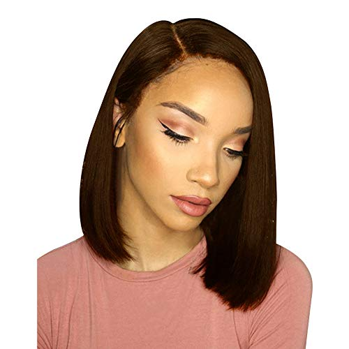 Malbaba Wigs, Rose Brown Hair Glueless Bob Wig Brazilian Straight Short Lace Hair Wigs for Black Women (Wigs for Black Women, Coffee)