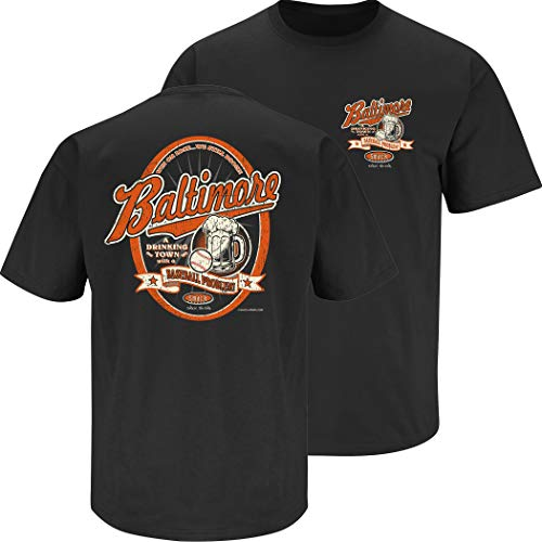 Baltimore Orioles Tee - Baltimore Baseball Fans. Baltimore Drinking Town Black Shirt or Tank (Sm-5X) (Short Sleeve, 3XL)