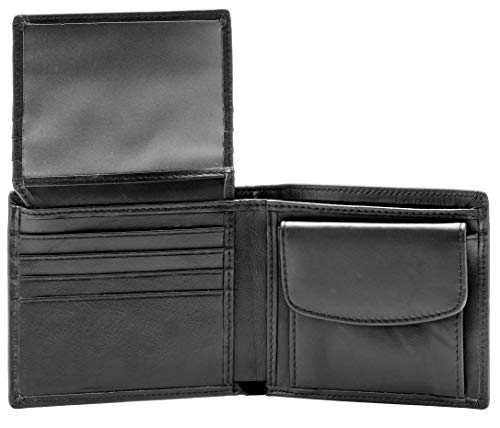 RFID Blocking Genuine Leather Bifold Wallet for Men with Zipper and Coin Pocket