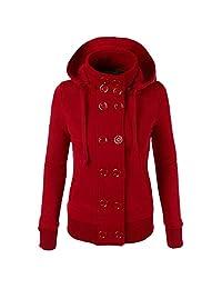 FarJing Women Casual Slim Jacket Coat Winter Warm Double Breasted Hooded Outwear