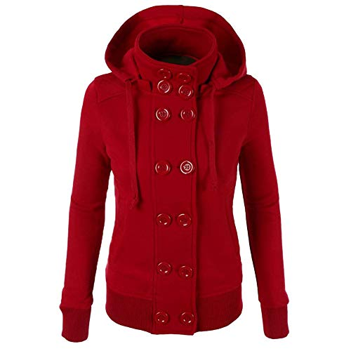 Women Winter Casual Jacket Double-Breasted Hooded Button Down Coat ()