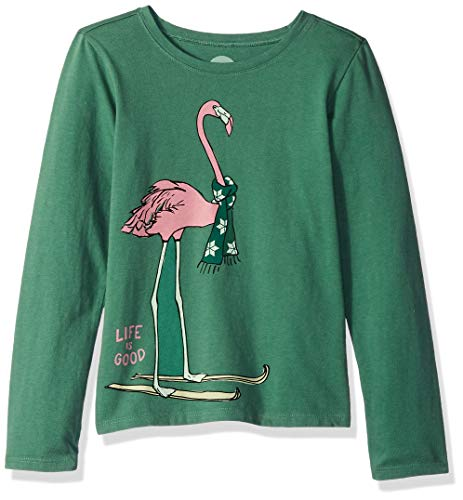 Life is Good Girls Longsleeve Crusher tee Festive Flamingo Athletic T Shirts, Forest Green, Medium