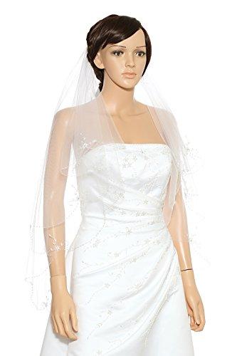 2T 2 Tier Floral Pattern Beaded Scalloped Edge Bridal Veil - Ivory Fingertip Length 36