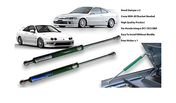 Color : Stainless steel Support Shock Damper Compatible with 1994-2001 Acura Integra DC2 Front Hood Bonnet Gas Struts Lift Support Shock Damper Carbon Fiber Replacement