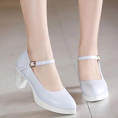 b5c1e2b92a723 SDKIR-Cheongsam modelo impermeable zapatos cuadro solo con zapatos de tacon  zapatos de tacon zapatos de tacon pasarelaTreinta y tresBlanco  Amazon.es   ...