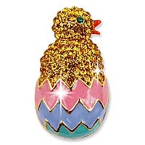 Austrian Crystal Chick in a Colorful Easter Egg Pin