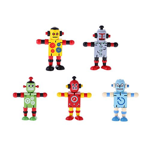 MagiDeal 5Pcs Wooden Walnut Puppets Robots Action Toys Flexible Joints Poseable for Baby Children Kids Age 2 Years by MagiDeal