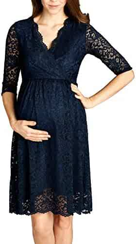 2102d168b5c Hello MIZ Women Lace Maternity Dress with Nursing Friendly Faux Wrap