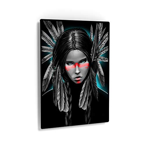 Indian Wall Art Sexy and Rough Looking Native American Woman Digital Painting Metal Print Living Room Bedroom Wall Metal Decor Home Decor Decorative Artwork Gallery Ready to Hang Made in USA - 24x16