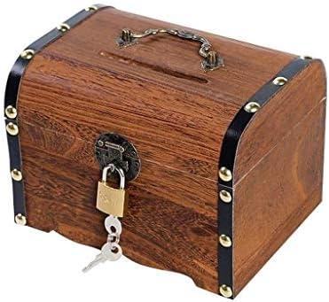 QJL_ANA 貯金箱ウッドヴィンテージトレジャーチェストチャイルドロック紙幣少年は大人キャッシュボックス(:小サイズ)撮影することができます (Size : Large)
