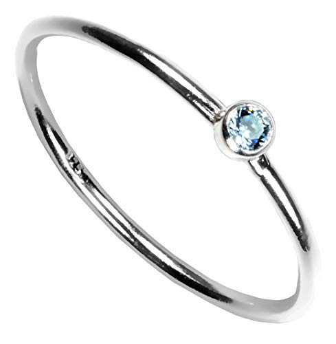 - Sterling Silver Aquamarine-Color Cubic Zirconia Stacking Ring Size 6