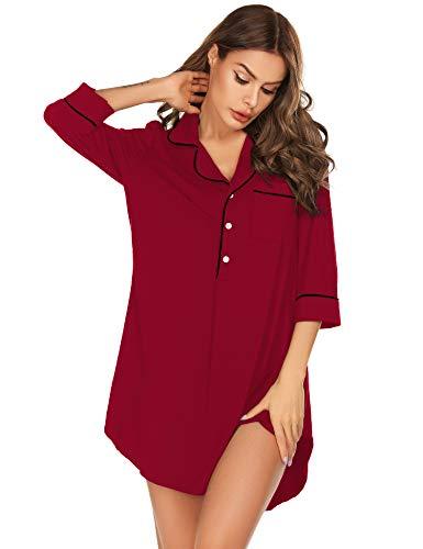 (LOMON Women's 3 4 Sleeve Nightshirt Boyfriend Sleep Shirt Button-up Lapel Collar Sleepwear Wine Red)