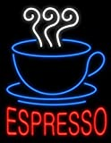 Espresso Coffee Neon Sign 17''x14'' Inches Bright Neon Light for Cafe Bakery Station Bar