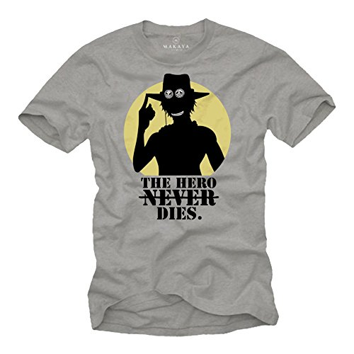 - Vintage Anime Clothing - The Hero Never Dies - Piece Ace T Shirt Anime gray Size M