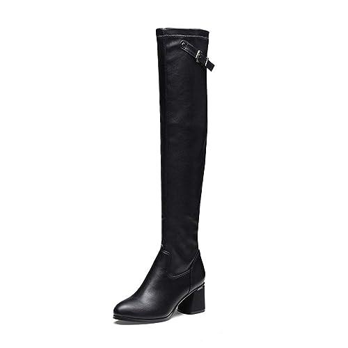 bc051611 GTYW, Botas Altas para La Rodilla De Mujer, Botas Planas De Cuero, Zapatos  De Tacón Bajo para Damas, Zapatos De Invierno, Vestido De Fiesta, ...