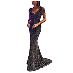 Women's Long Sleeveless Sling Sequin Dress