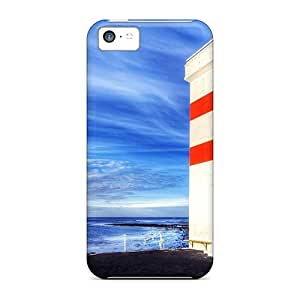 New Jeffrehing Super Strong Lovely Square Lighthouse Tpu Case Cover For Iphone 5c