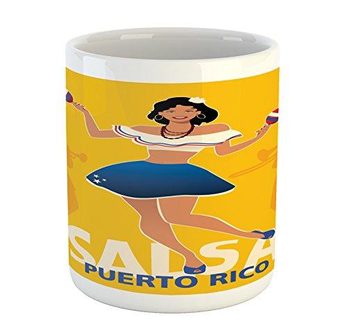 Lunarable Puerto Rico Mug, Salsa Dancing Girl with Maracas Trombonist and Trumpeter Silhouette on Backdrop, Printed Ceramic Coffee Mug Water Tea Drinks Cup, Multicolor